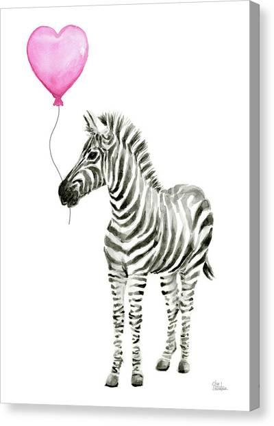 Happy Birthday Canvas Print - Zebra Watercolor Whimsical Animal With Balloon by Olga Shvartsur