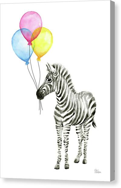 Happy Birthday Canvas Print - Zebra Watercolor With Balloons by Olga Shvartsur