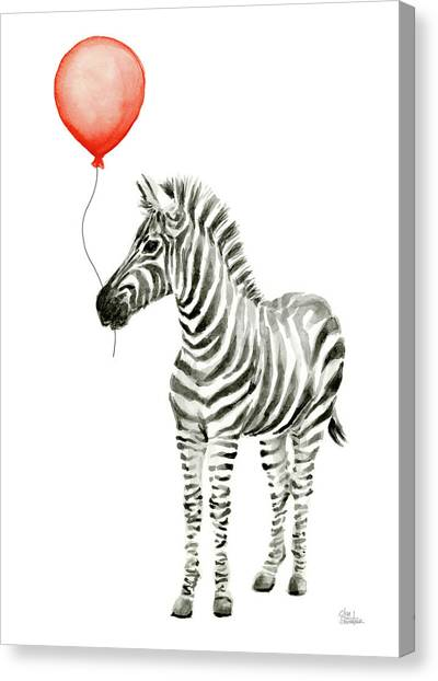Happy Birthday Canvas Print - Zebra With Red Balloon Whimsical Baby Animals by Olga Shvartsur