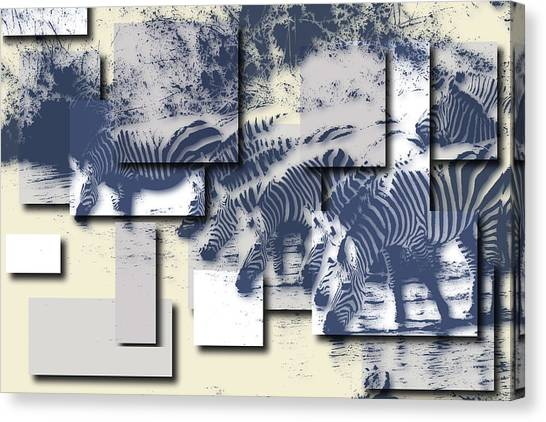 Mount Kilimanjaro Canvas Print - Zebras by Joe Hamilton