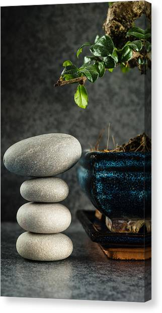 Mystic Setting Canvas Print - Zen Stones And Bonsai Tree by Marco Oliveira