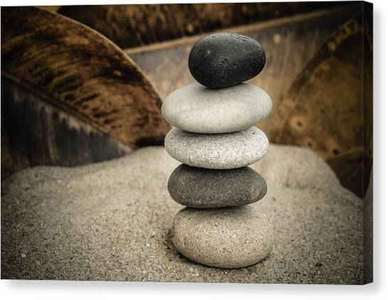 Mystic Setting Canvas Print - Zen Stones IIi by Marco Oliveira