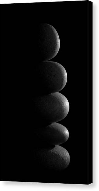 Mystic Setting Canvas Print - Zen Stones In The Dark by Marco Oliveira