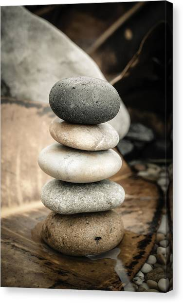 Mystic Setting Canvas Print - Zen Stones Iv by Marco Oliveira
