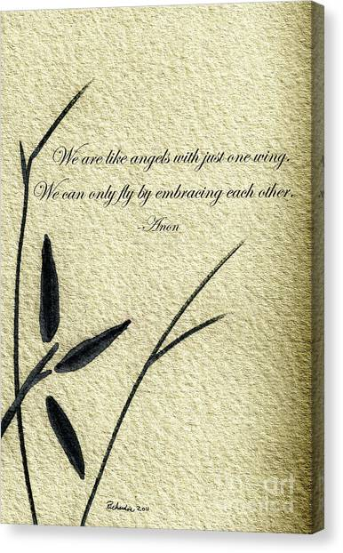 Zen Sumi 4d Antique Motivational Flower Ink On Watercolor Paper By Ricardos Canvas Print