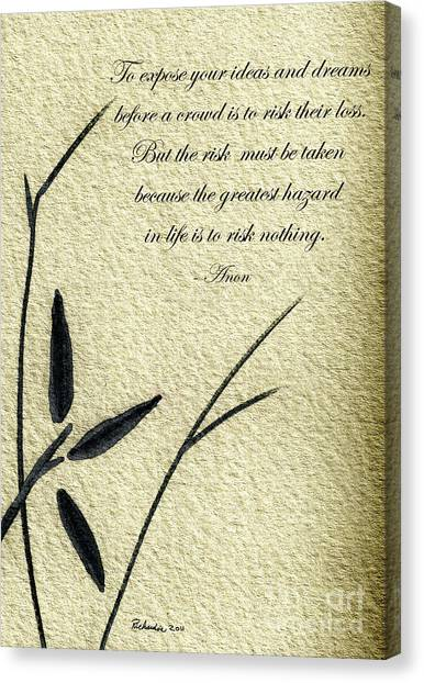Zen Sumi 4n Antique Motivational Flower Ink On Watercolor Paper By Ricardos Canvas Print