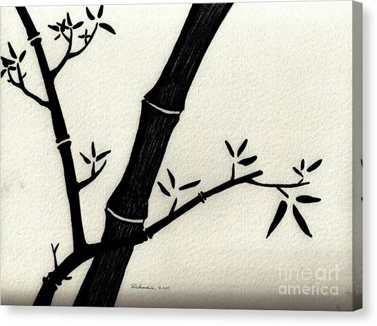 Zen Sumi Antique Bamboo 2a Black Ink On Fine Art Watercolor Paper By Ricardos Canvas Print by Ricardos Creations