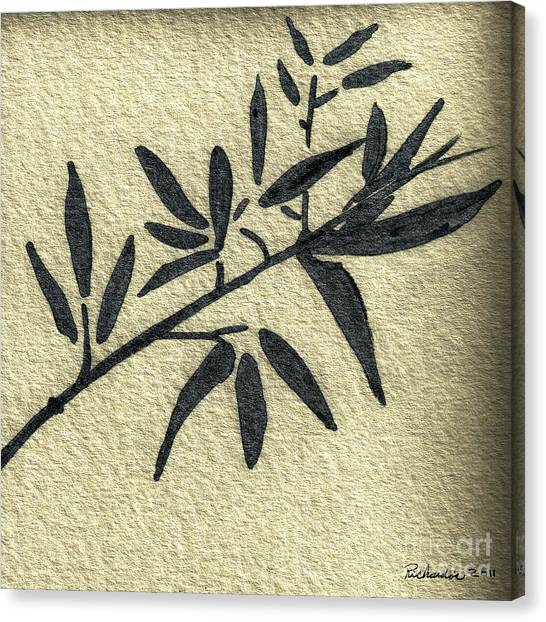 Zen Sumi Antique Botanical 4a Ink On Fine Art Watercolor Paper By Ricardos Canvas Print