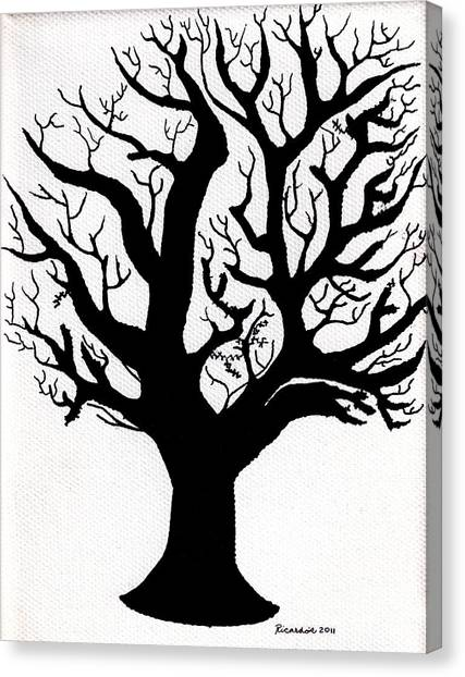 Zen Sumi Tree Of Life Enhanced Black Ink On Canvas By Ricardos Canvas Print by Ricardos Creations