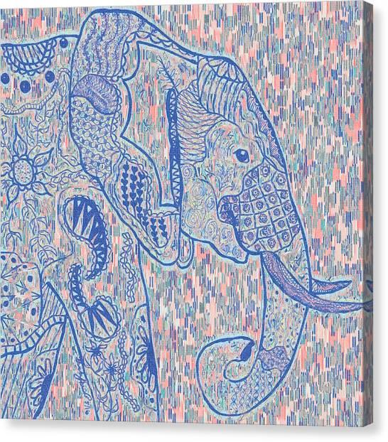 Zentangle Elephant-oil Canvas Print