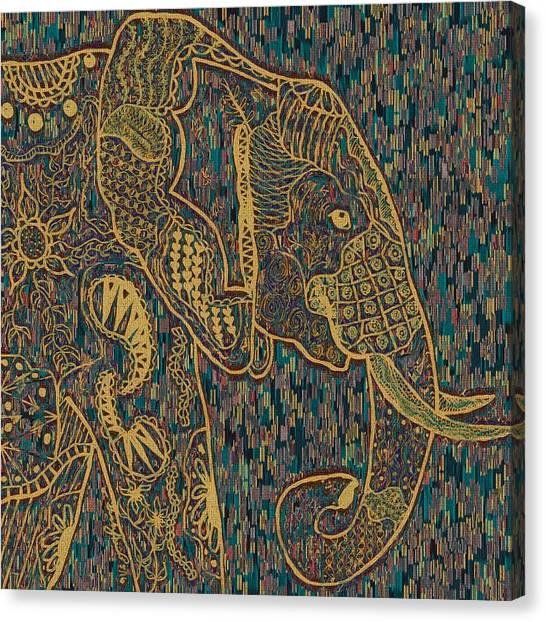 Zentangle Elephant-oil Gold Canvas Print