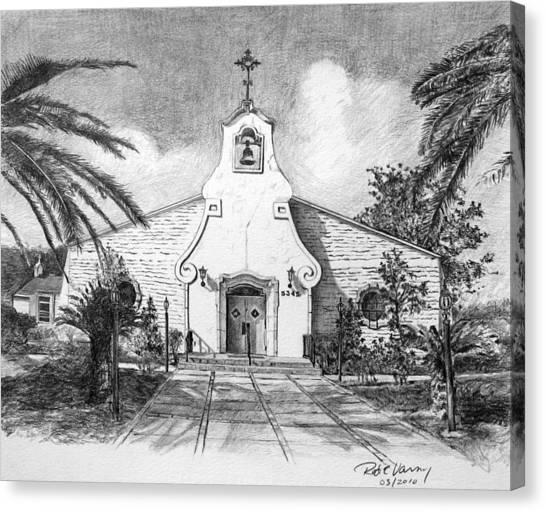 Zephyrhills Catholic Church Canvas Print by Rod Varney