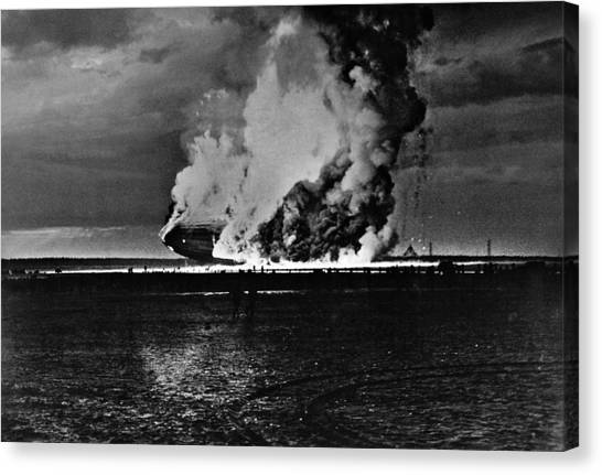 Blimps Canvas Print - Zeppelin Explosion - Hindenburg Disaster - 1937 by War Is Hell Store