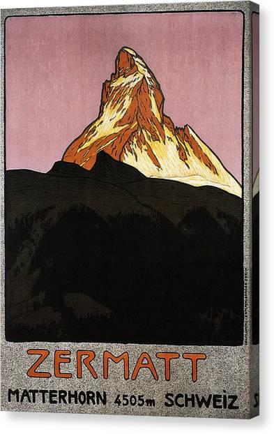 Matterhorn Canvas Print - Zermatt, Switzerland - Matterhorn Mountain - Retro Travel Poster - Vintage Poster by Studio Grafiikka