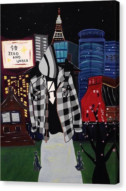 Tokyo Skyline Canvas Print - Zero And Under Goes To Tokyo by Annie Walczyk