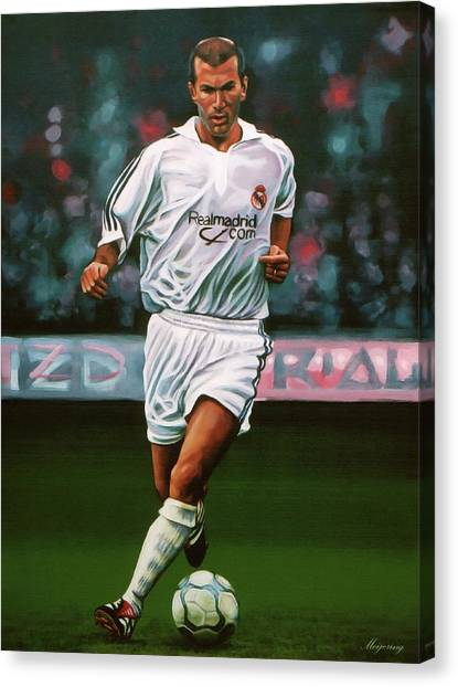 Goal Canvas Print - Zidane At Real Madrid Painting by Paul Meijering