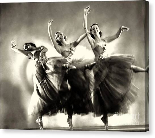 Ziegfeld Model  Dancers By Alfred Cheney Johnston Black And White Ballet Canvas Print