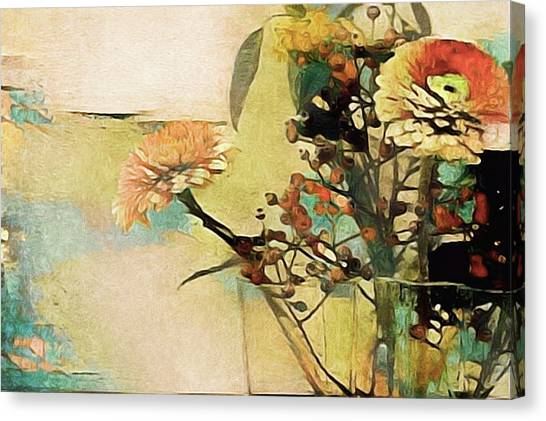 Canvas Print featuring the mixed media Zinnias From The Garden by Susan Maxwell Schmidt