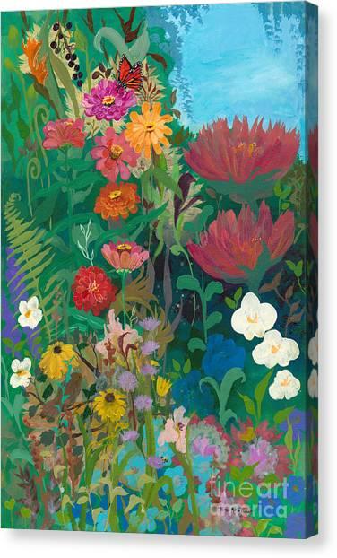 Zinnias Garden Canvas Print