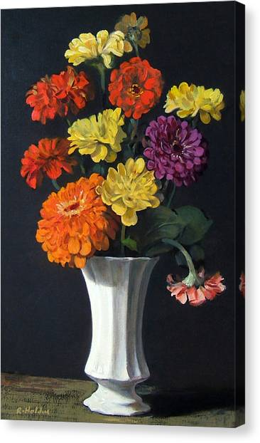 Zinnias Showing Their True Colors In White Vase Canvas Print