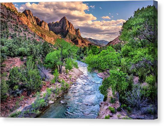 Zion Canyon At Sunset Canvas Print