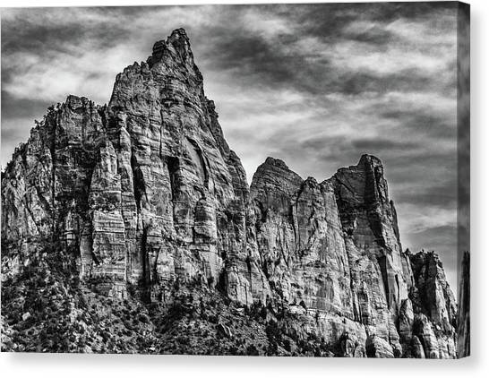 Zion Mountains 2bw  Canvas Print by Don Risi