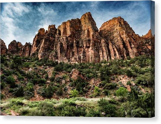Zion Mountains 3c Canvas Print by Don Risi