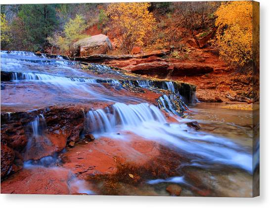 Angel Falls Canvas Print - Zion National Park In Autumn Waterfall by Pierre Leclerc Photography