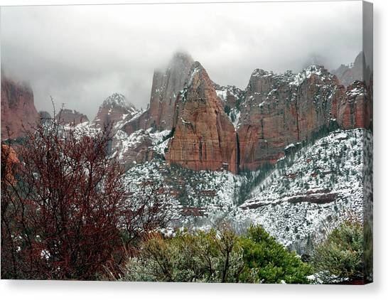Zion Winter Skyline Canvas Print
