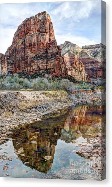 Zions National Park Angels Landing - Digital Painting Canvas Print