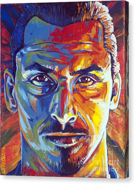 Paris Saint-germain Fc Canvas Print - Zlatan Ibrahimovic by Christian CAZALET