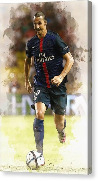 Zlatan Ibrahimovic Canvas Print - Zlatan Ibrahimovic Controls The Ball by Don Kuing