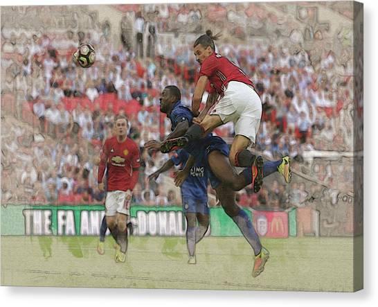 Wayne Rooney Canvas Print - Zlatan Ibrahimovic Header by Don Kuing