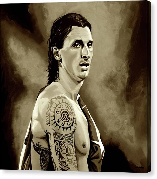 Paris Saint-germain Fc Canvas Print - Zlatan Ibrahimovic Sepia by Paul Meijering