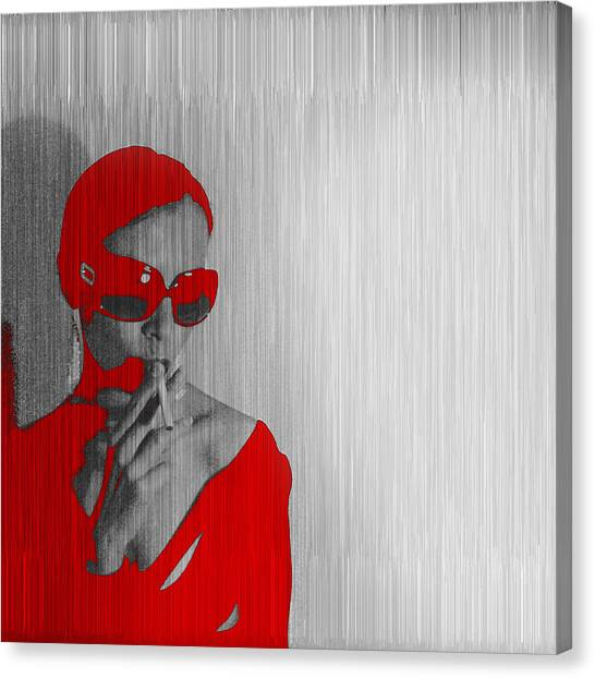 Powerful Canvas Print - Zoe In Red by Naxart Studio