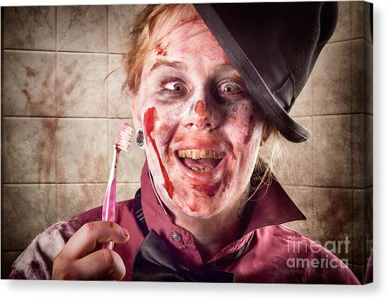 Toothbrush Canvas Print - Zombie At Dentist Holding Toothbrush. Tooth Decay by Jorgo Photography - Wall Art Gallery