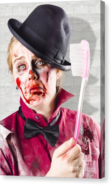 Toothbrush Canvas Print - Zombie With Big Toothbrush. Fear Of The Dentist by Jorgo Photography - Wall Art Gallery