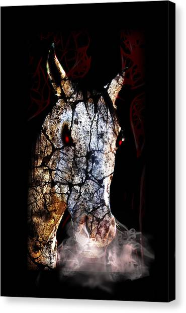 Creepy Canvas Print - Zombified Horse by Gravityx9 Designs