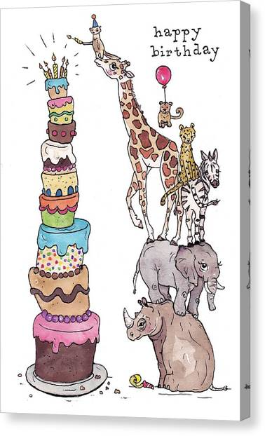 Happy Birthday Canvas Print - Zoo Animals Happy Birthday Card by Katrina Davis