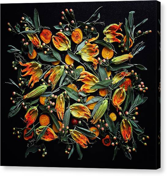 Zucchini Flower Patterns Canvas Print