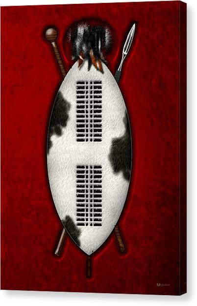 South African Canvas Print - Zulu War Shield With Spear And Club by Serge Averbukh