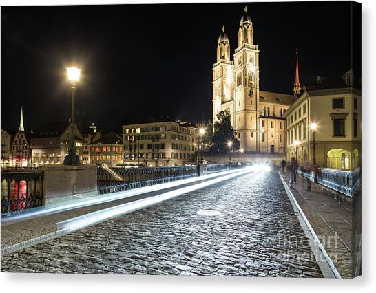 Zurich Night Rush In Old Town Canvas Print