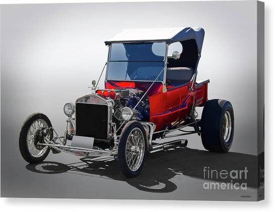 vintage wire wheels canvas print - 1927 ford model t roadster pickup by  dave koontz