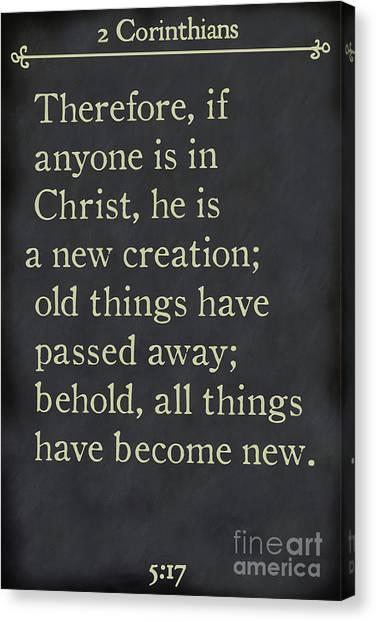 2 Corinthians 5 17 - Inspirational Quotes Wall Art Collection Canvas Print