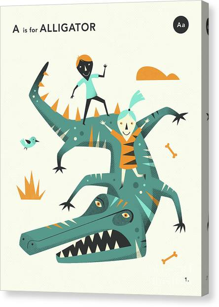 Alligators Canvas Print - A Is For Alligator 2 by Jazzberry Blue