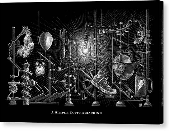 Canvas Print featuring the drawing A Simple Coffee Machine by Clint Hansen