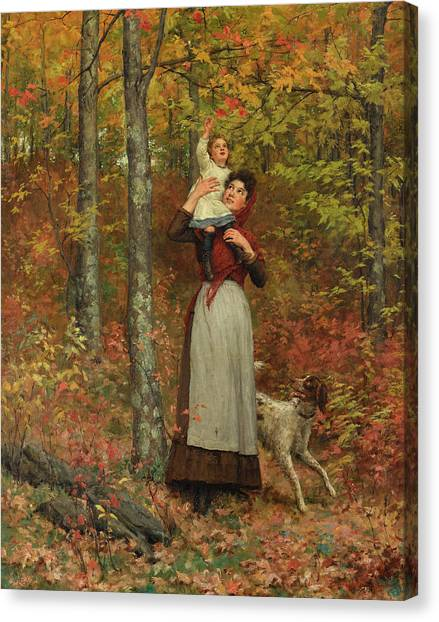 Augusta Canvas Print - A Walk In The Woods by Jennie Augusta Brownscombe