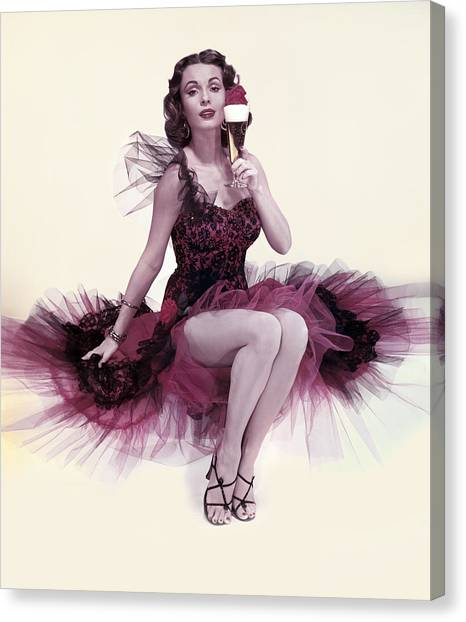 A Woman & Her Beer Canvas Print