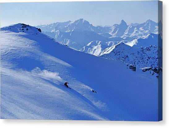 A Young Skier, A Freerider Skiing In Canvas Print