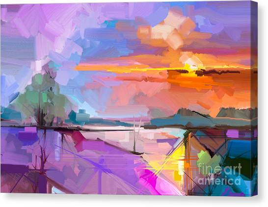 Texture Canvas Print - Abstract Oil Painting Landscape by Pluie r